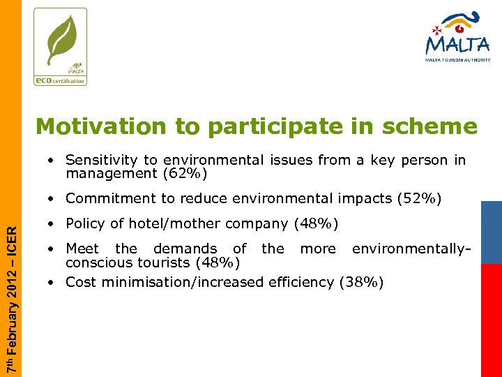 Motivation to participate in scheme • Sensitivity to environmental issues from a key person