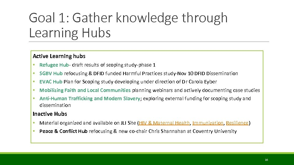 Goal 1: Gather knowledge through Learning Hubs Active Learning hubs • • • Refugee