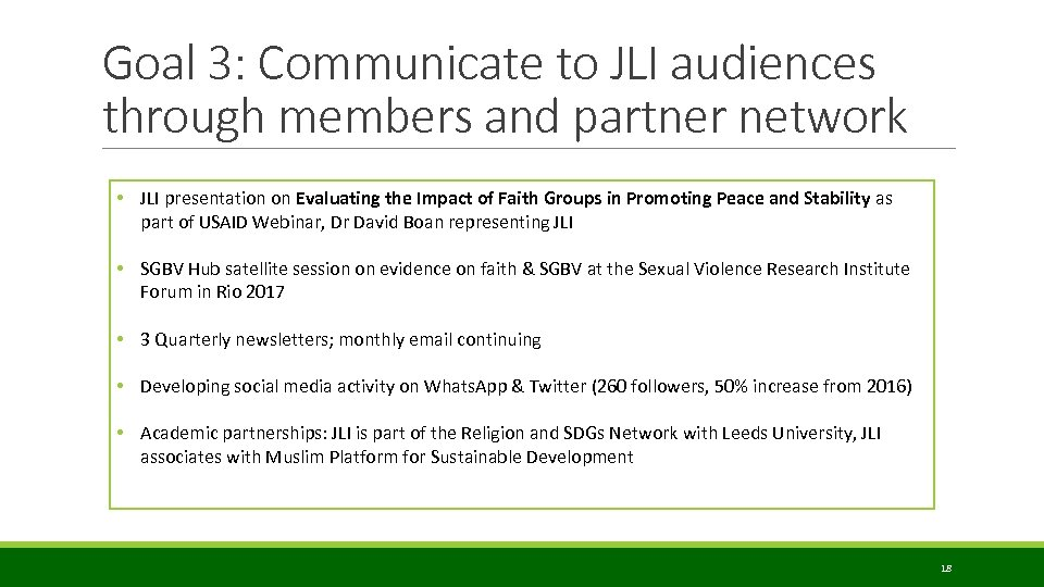 Goal 3: Communicate to JLI audiences through members and partner network • JLI presentation
