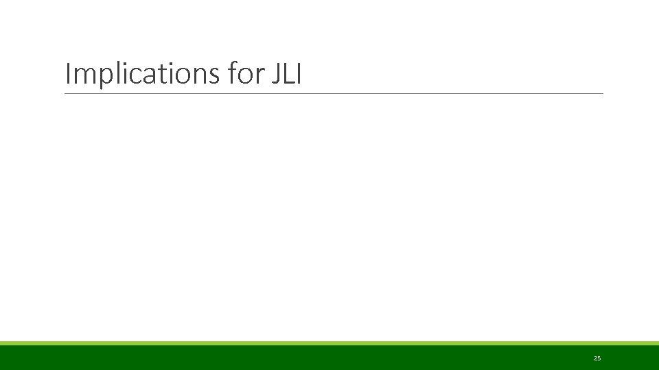 Implications for JLI 25