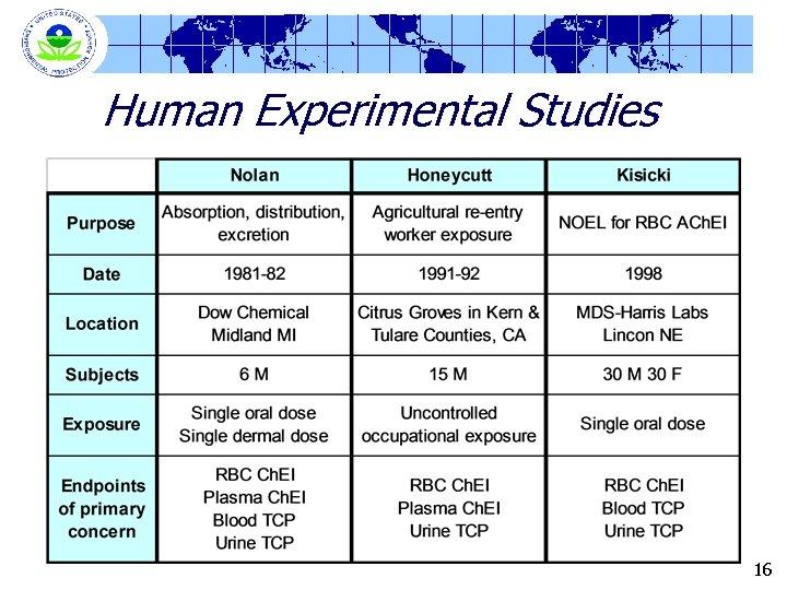 Human Experimental Studies 16