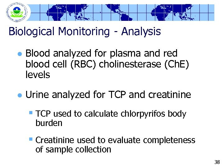 Biological Monitoring - Analysis l Blood analyzed for plasma and red blood cell (RBC)