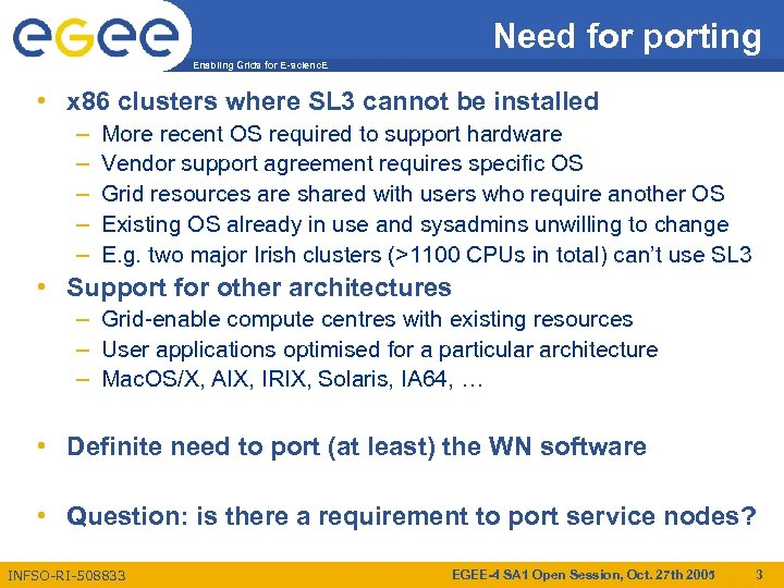 Need for porting Enabling Grids for E-scienc. E • x 86 clusters where SL