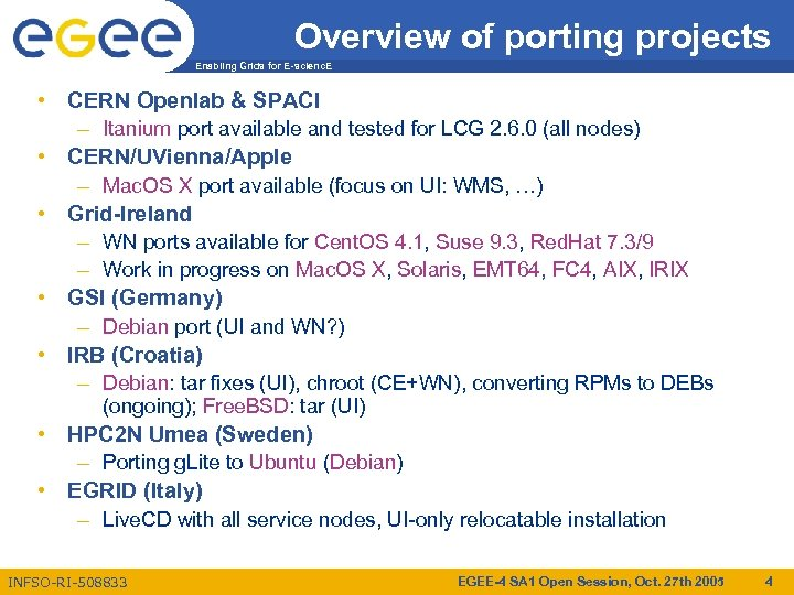 Overview of porting projects Enabling Grids for E-scienc. E • CERN Openlab & SPACI