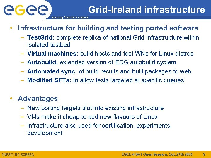 Grid-Ireland infrastructure Enabling Grids for E-scienc. E • Infrastructure for building and testing ported