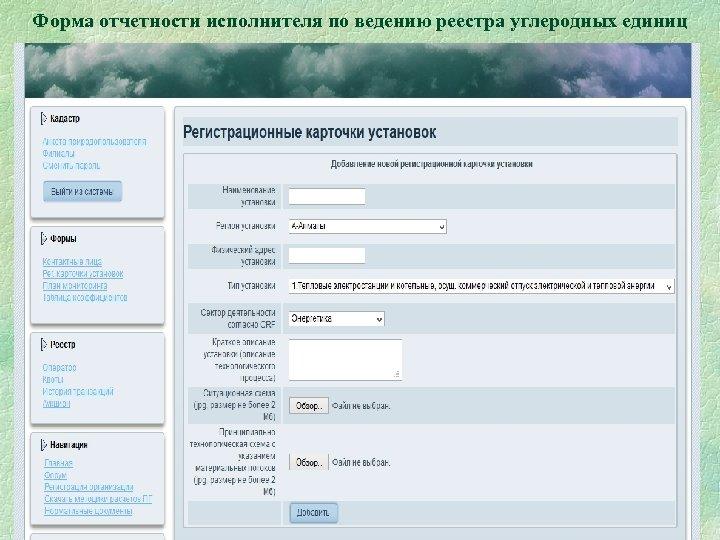 Форма отчетности исполнителя по ведению реестра углеродных единиц 20