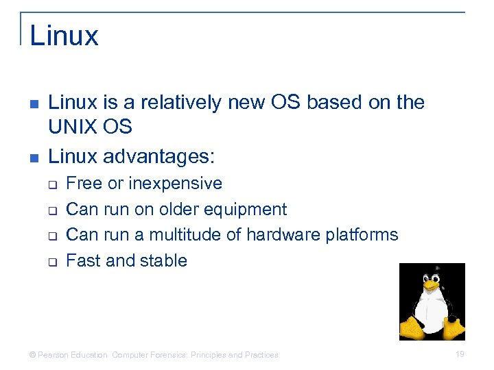 Linux n n Linux is a relatively new OS based on the UNIX OS