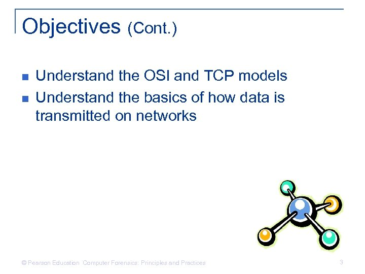 Objectives (Cont. ) n n Understand the OSI and TCP models Understand the basics