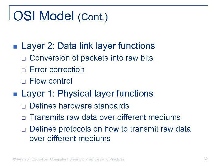 OSI Model (Cont. ) n Layer 2: Data link layer functions q q q