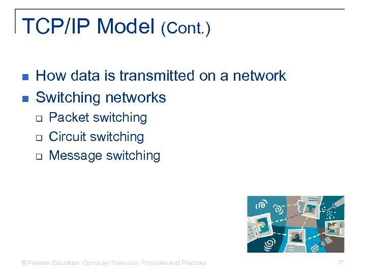 TCP/IP Model (Cont. ) n n How data is transmitted on a network Switching