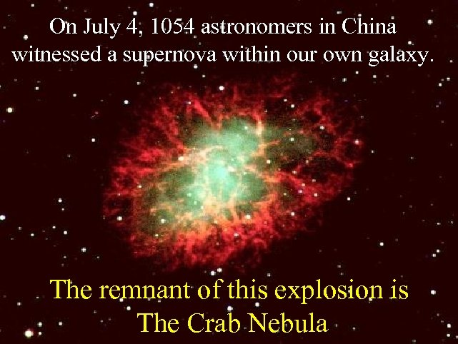 On July 4, 1054 astronomers in China witnessed a supernova within our own galaxy.