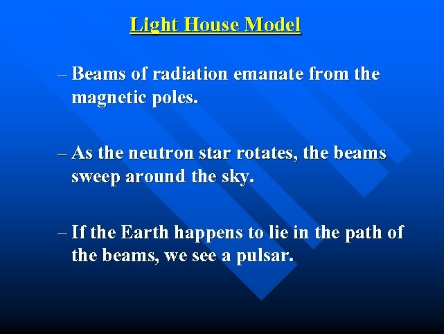 Light House Model – Beams of radiation emanate from the magnetic poles. – As