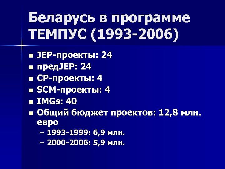 Беларусь в программе ТЕМПУС (1993 -2006) n n n JEP-проекты: 24 пред. JEP: 24