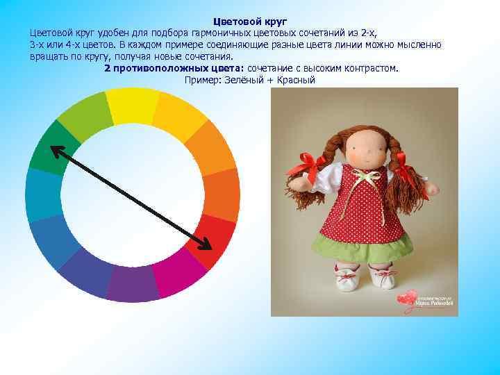 Цветовой круг удобен для подбора гармоничных цветовых сочетаний из 2 -х, 3 -х или