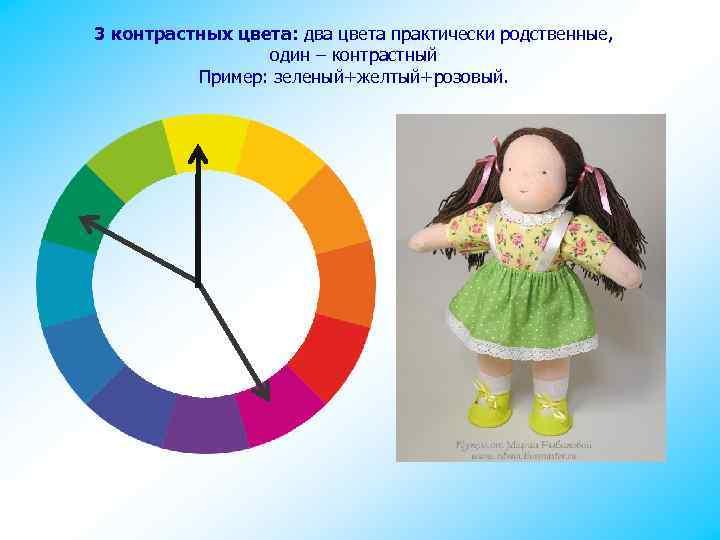 3 контрастных цвета: два цвета практически родственные, один – контрастный Пример: зеленый+желтый+розовый.