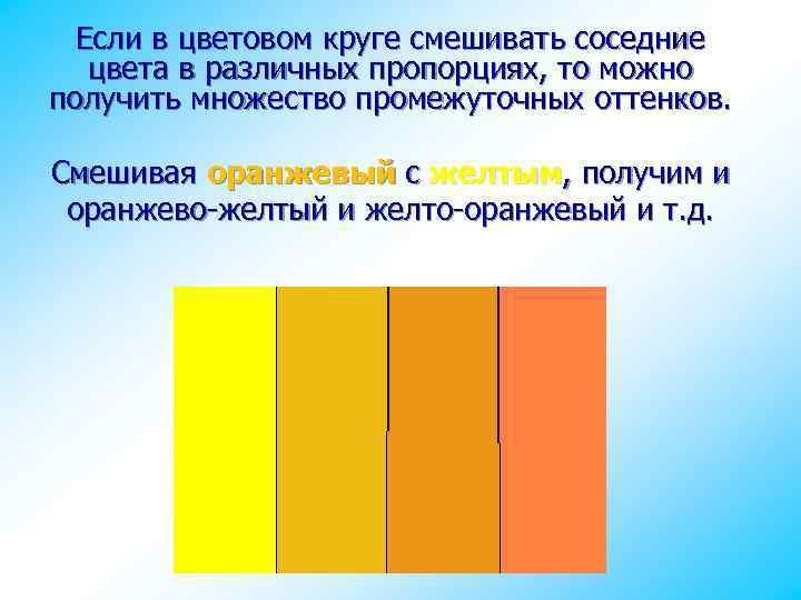 Если в цветовом круге смешивать соседние цвета в различных пропорциях, то можно получить множество