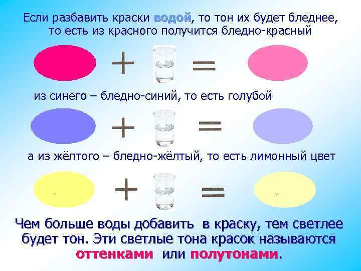 Если разбавить краски водой, то тон их будет бледнее, водой то есть из красного