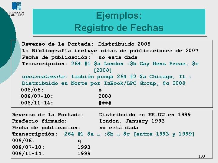 Ejemplos: Registro de Fechas Reverso de la Portada: Distribuido 2008 La Bibliografía incluye citas