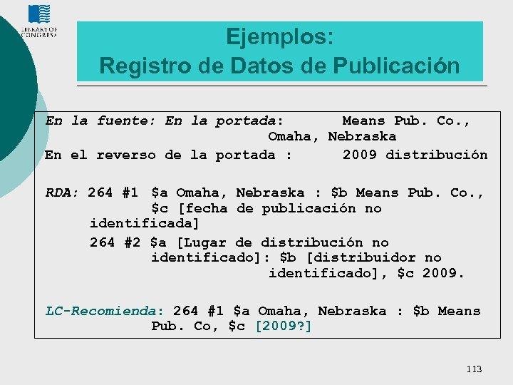 Ejemplos: Registro de Datos de Publicación En la fuente: En la portada: Means Pub.