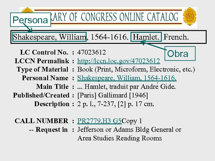 Persona Shakespeare, William, 1564 -1616. Hamlet. French. LC Control No. LCCN Permalink Type of
