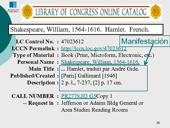Shakespeare, William, 1564 -1616. Hamlet. French. LC Control No. LCCN Permalink Type of Material