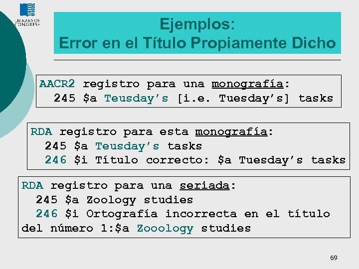 Ejemplos: Error en el Título Propiamente Dicho AACR 2 registro para una monografía: 245