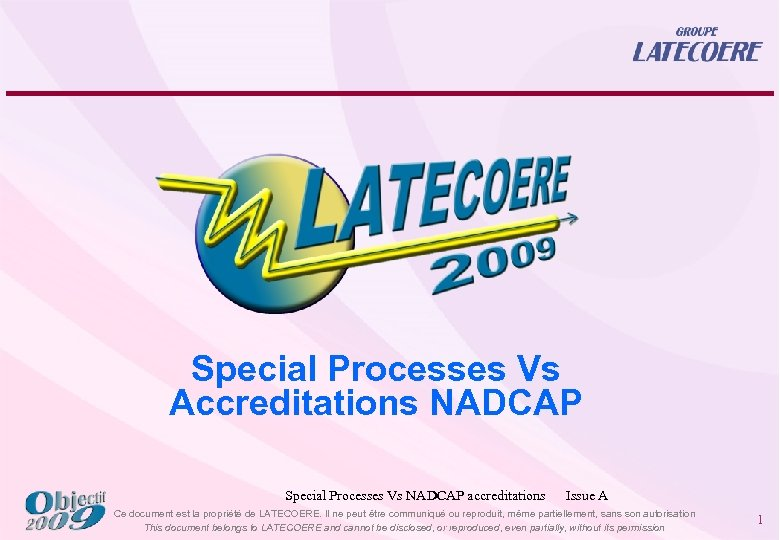 Special Processes Vs Accreditations NADCAP Special Processes Vs NADCAP accreditations Issue A Ce document