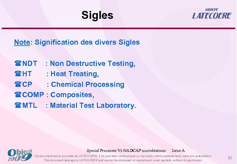 Sigles Note: Signification des divers Sigles (NDT : Non Destructive Testing, (HT : Heat