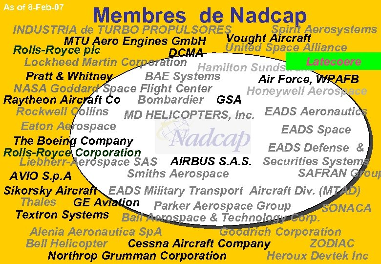 As of 8 -Feb-07 Membres de Nadcap Spirit Aerosystems INDUSTRIA de TURBO PROPULSORES Vought