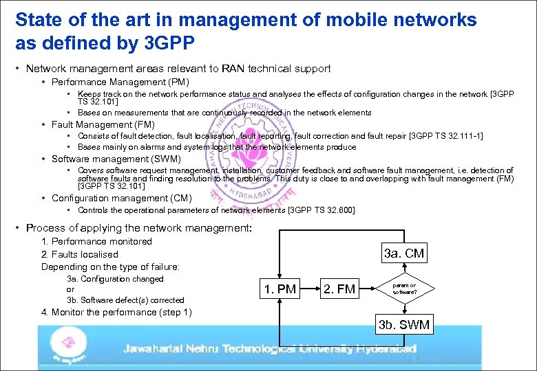 State of the art in management of mobile networks as defined by 3 GPP