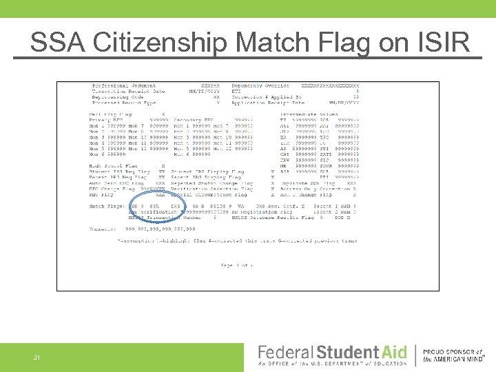SSA Citizenship Match Flag on ISIR 21