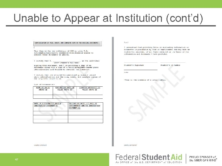 Unable to Appear at Institution (cont'd) 47