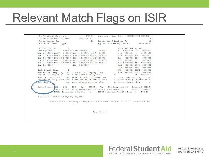 Relevant Match Flags on ISIR 7