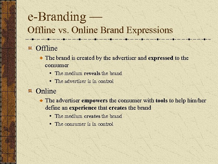 e-Branding — Offline vs. Online Brand Expressions Offline The brand is created by the