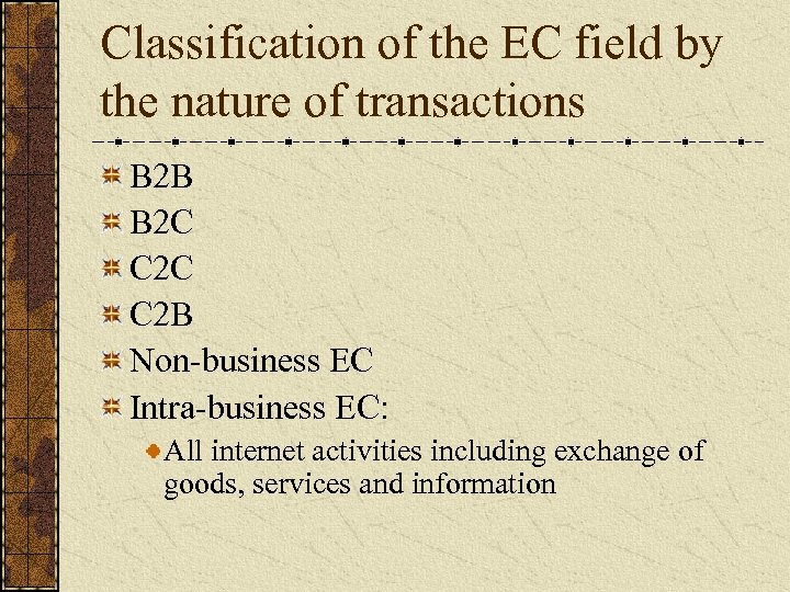 Classification of the EC field by the nature of transactions B 2 B B