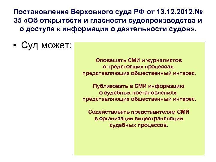 Постановление Верховного суда РФ от 13. 12. 2012. № 35 «Об открытости и гласности