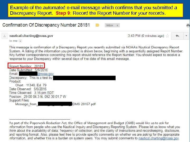 Example of the automated e-mail message which confirms that you submitted a Discrepancy Report.