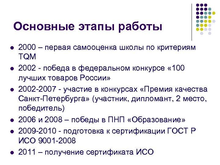 Основные этапы работы l l l 2000 – первая самооценка школы по критериям TQM