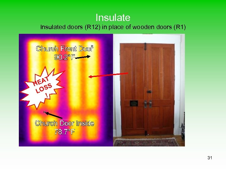 Insulated doors (R 12) in place of wooden doors (R 1) T EA H