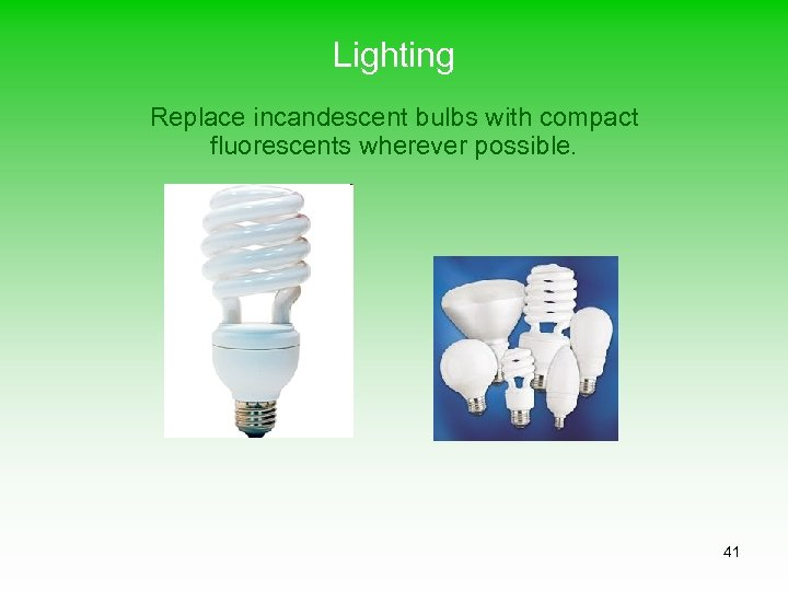 Lighting Replace incandescent bulbs with compact fluorescents wherever possible. 41