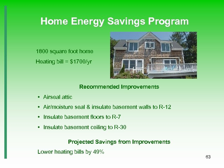 Home Energy Savings Program 1800 square foot home Heating bill = $1700/yr Recommended Improvements