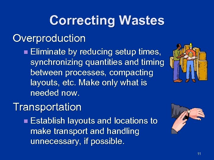 Correcting Wastes Overproduction n Eliminate by reducing setup times, synchronizing quantities and timing between