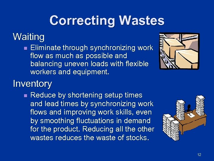 Correcting Wastes Waiting n Eliminate through synchronizing work flow as much as possible and