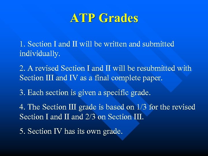 ATP Grades 1. Section I and II will be written and submitted individually. 2.