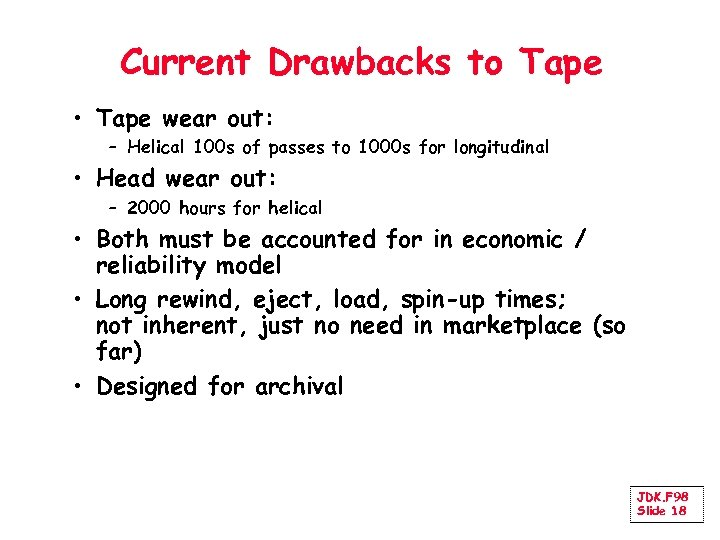 Current Drawbacks to Tape • Tape wear out: – Helical 100 s of passes