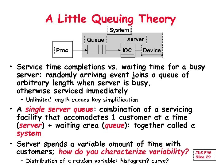 A Little Queuing Theory System Queue Proc server IOC Device • Service time completions