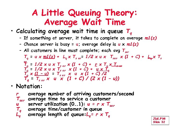 A Little Queuing Theory: Average Wait Time • Calculating average wait time in queue