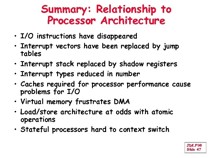 Summary: Relationship to Processor Architecture • I/O instructions have disappeared • Interrupt vectors have