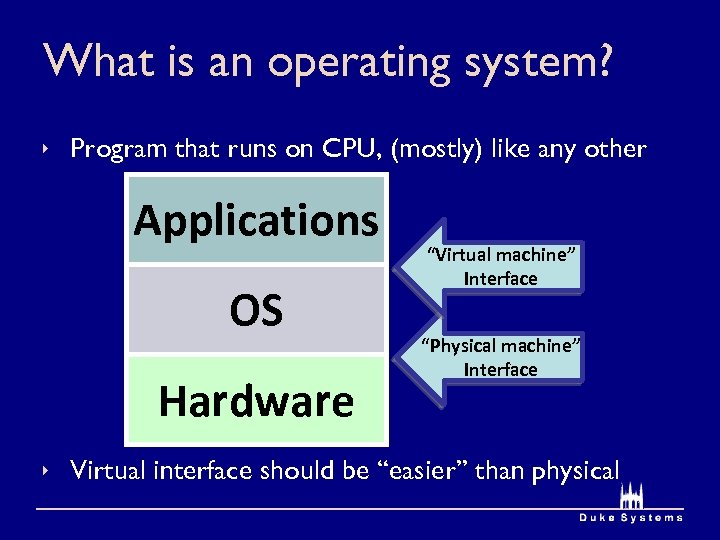 What is an operating system? ê Program that runs on CPU, (mostly) like any
