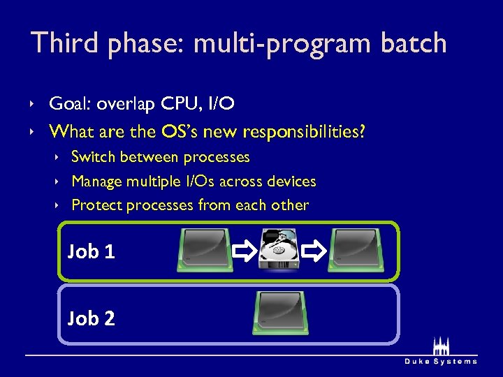 Third phase: multi-program batch ê Goal: overlap CPU, I/O ê What are the OS's